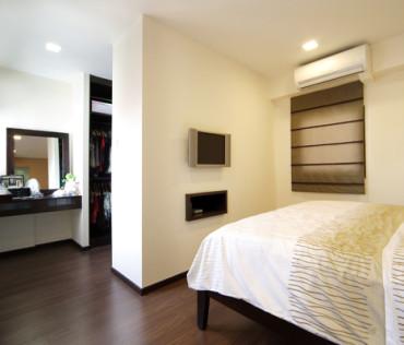 Master bedroom interior design. Timber flooring