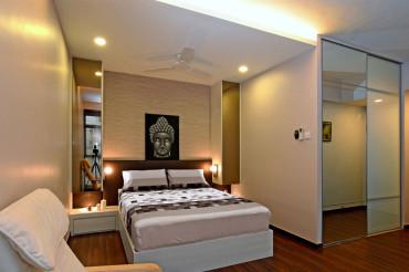 Condo Master bedroom interior design. Timber flooring. Full height mirror 2 panel sliding door wardrobe. Designer customised feature wall.