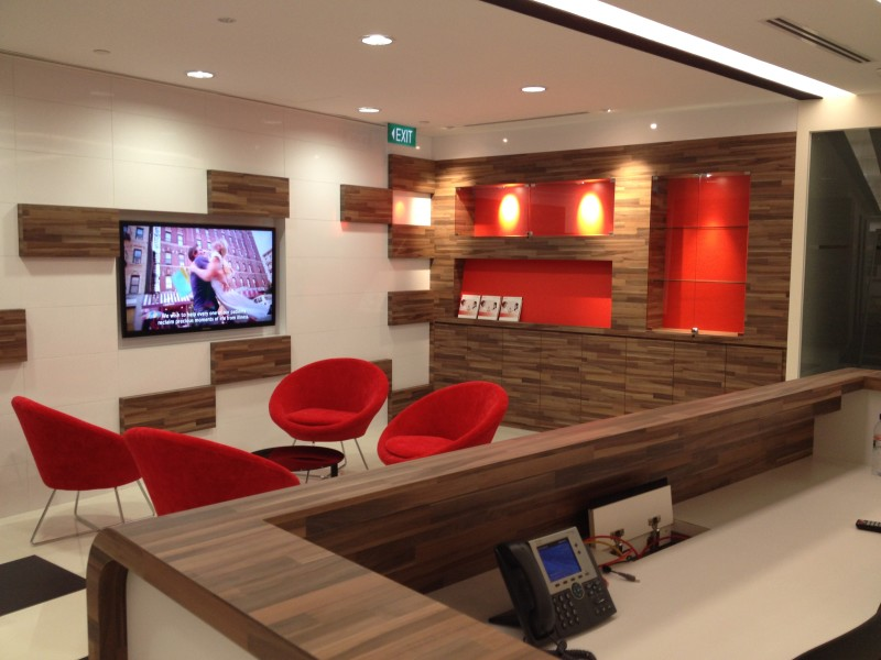 commercial_renovations. Signature Red and contrast wood features.