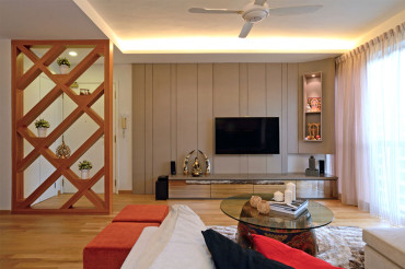 Living room interior design. Timber designed divider