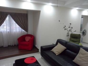New HDB flat renovation. Interior Design. Living room with L-box LED downlights. Raised timber platform.