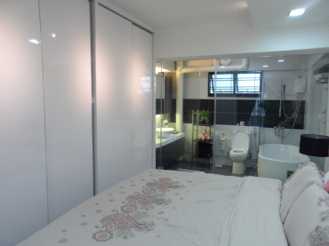 Master Bedroom renovation. Interior Design. See through master bathroom. Full height tempered glass clear see through.